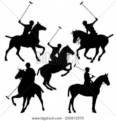 polo horsemen silhouette set - black vector riders design collection