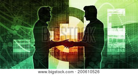 Sales Meeting with Businessmen Shaking Hands as Abstract