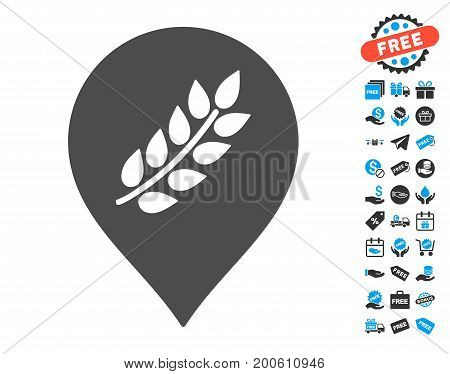 Rice Plantation Marker gray pictograph with free bonus images. Vector illustration style is flat iconic symbols.