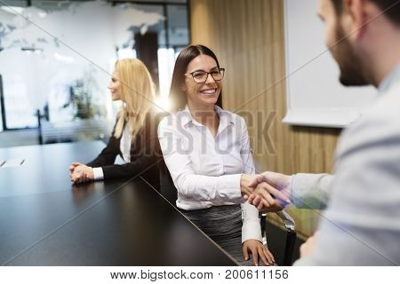 Picture of businessman and businesswoman shaking hands at meeting