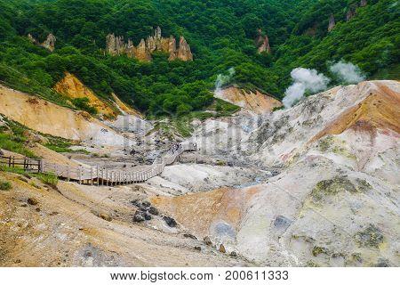 Jigokudani hell Valley in Noboribetsu Hokkaido most famous hot spring onsen resort Japan
