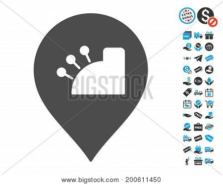Shop Register Marker gray icon with free bonus pictograph collection. Vector illustration style is flat iconic symbols.