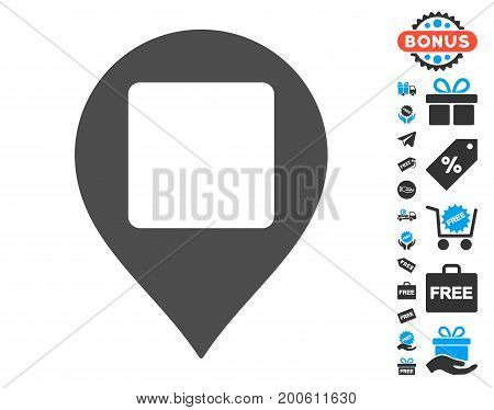 Square Hole Map Marker grey pictograph with free bonus graphic icons. Vector illustration style is flat iconic symbols.