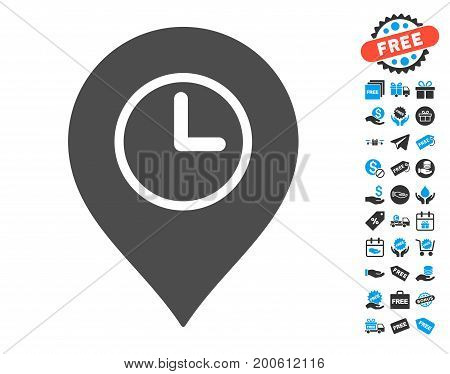 Time Marker grey pictograph with free bonus graphic icons. Vector illustration style is flat iconic symbols.