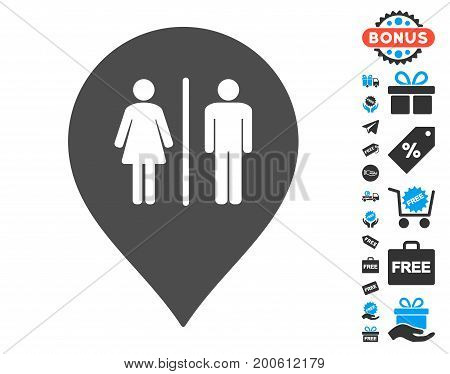 Toilet Marker gray icon with free bonus icon set. Vector illustration style is flat iconic symbols.