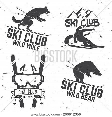 Set of vector ski club retro badges. Concept for shirt, print, seal or stamp. Skis, mountain, bear, wolf and goggles. Typography design- stock vector. Family vacation, activity or travel. For logo design, patches or badges.