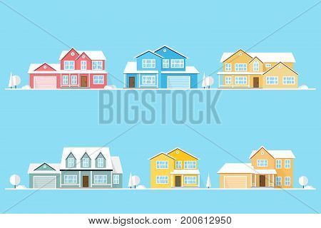 Neighborhood with homes illustrated on blue. Vector flat icon suburban american houses. For web design and application interface, also useful for infographics. Vector illustration.