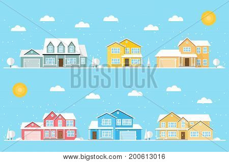 Neighborhood with homes and snowflakes illustrated on the blue background. Vector flat icon suburban american houses in winter. For web design and application interface, also useful for infographics. Vector illustration.