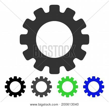 Gearwheel flat vector pictograph. Colored gearwheel, gray, black, blue, green icon variants. Flat icon style for web design.