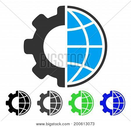 Global Options flat vector pictogram. Colored global options, gray, black, blue, green pictogram variants. Flat icon style for web design.