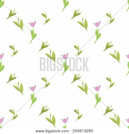 Seamless pattern made of hand-drawn watercolor pink tulip flower with green leaves. For design, packing, invitation and more