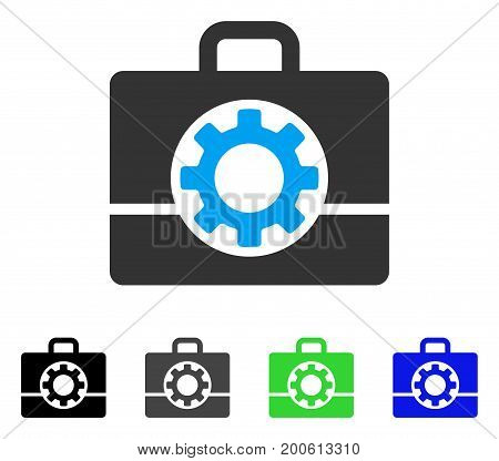 Mechanics Case flat vector pictograph. Colored mechanics case, gray, black, blue, green icon variants. Flat icon style for web design.