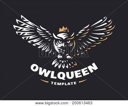 Owl logo - vector illustration. Emblem design on black background