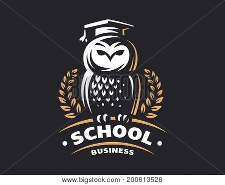 Owl education logo - vector illustration. Emblem design on black background