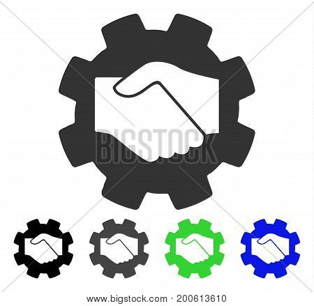 Smart Contract Handshake flat vector icon. Colored smart contract handshake, gray, black, blue, green icon versions. Flat icon style for graphic design.