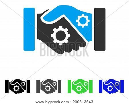 Smart Contract Handshake flat vector illustration. Colored smart contract handshake, gray, black, blue, green pictogram variants. Flat icon style for web design.