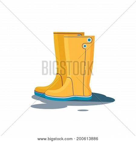 Yellow Rubber Boots for fall or bad weather icon isolated on white background. Flat Vector illustration