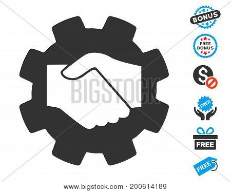 Smart Contract Handshake gray pictograph with free bonus pictograph collection. Vector illustration style is flat iconic symbols.