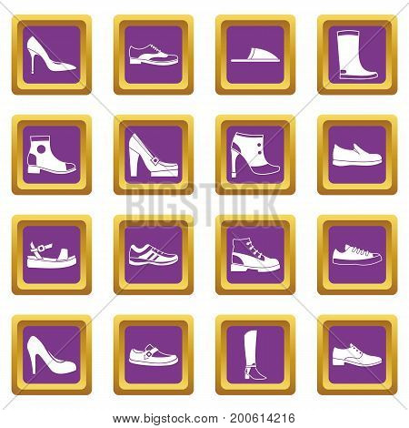 Shoe icons set in purple color isolated vector illustration for web and any design