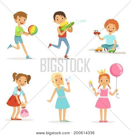 Happy children playing with funny toys on playground. Vector illustrations isolated. Child happy and funny, magic wand and princess with crown