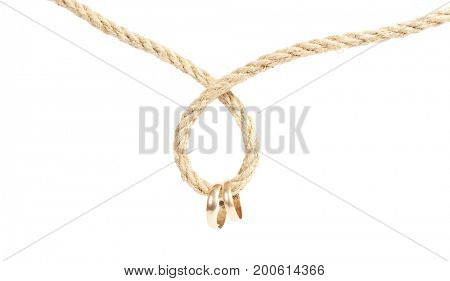 Two golden rings is hanging on the rope