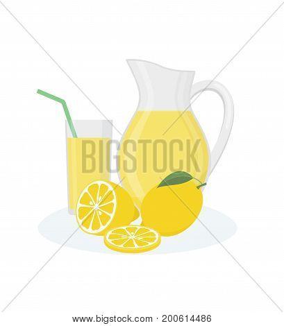 Jug, glass of lemonade and lemon fruits on white background. Flat style, vector illustration.