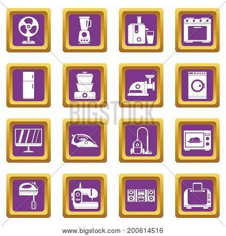 Household appliances icons set in purple color isolated vector illustration for web and any design