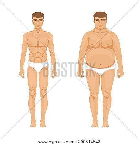 Visualization of weight loss. Muscular and fat man. Vector cartoon illustration of lifestyle. Muscular body male and transformation guy