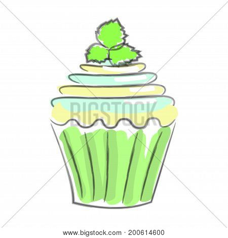 Hand drawn cupcake, sketch style. Isolated on white background. Pastel colors. Vector illustration eps 10
