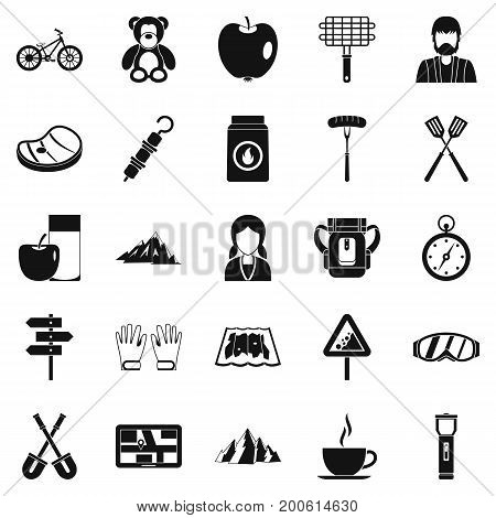 Family barbecue icons set. Simple set of 25 family barbecue vector icons for web isolated on white background