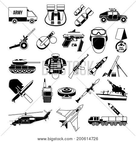 War monochrome icons set. Silhouette of military pictures. Battleship, soldiers, trucks, and different weapons. Military black battleship and grenade, ammunition and launcher. Vector illustration
