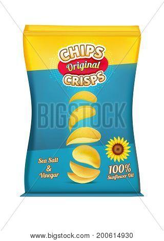 Package design of snacks or chips. Vector template original snack chips in polythene package illustration