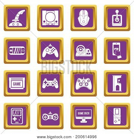 Video game icons set in purple color isolated vector illustration for web and any design