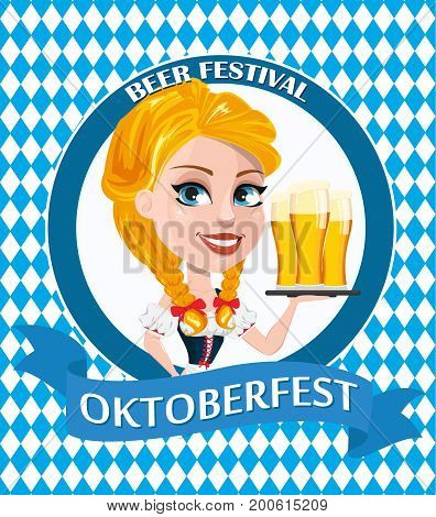 Oktoberfest flyer with sexy redhead girl holding three pints of beer. Vector illustration with rhombs on background. Can be used for poster invitation banner.