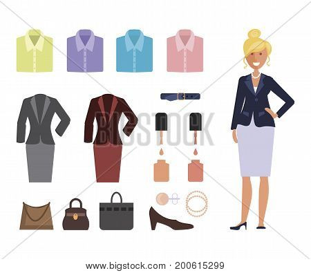 Business dress code infographics. Woman in formal clothes and shoes. Feale Official suits isolated on white background. Vector illustration eps 10