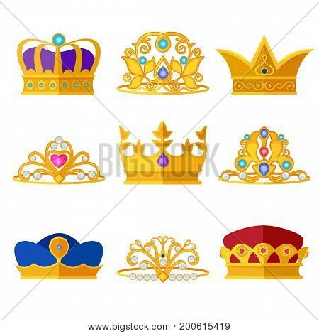 Princess diadems and golden crowns of kings and queens. Vector set isolate on white. Jewelry royal crown, illustration of king crown
