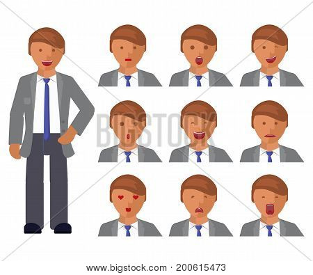 Set of man expression. Character creation set. Full length and different emotion portraits on white background. Build your own design. Vector illustration eps 10