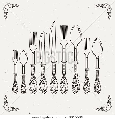 Sketched illustration of retro tableware. Vector pictures of spoon, fork and knife. Vintage tableware cutlery, silverware drawing sketch