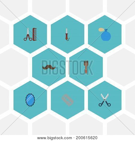 Flat Icons Hairdresser, Shears, Deodorant And Other Vector Elements