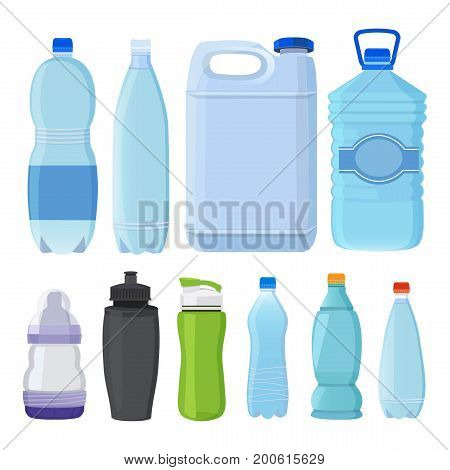 Glass and plastic bottles of different types for alcohol and water. Plastic bottle with water collection, illustration of transparent container