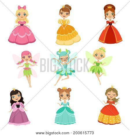 Cartoon funny fantasy princesses in different dresses and costumes. Fairytale vector illustration set of wing fairy in dress