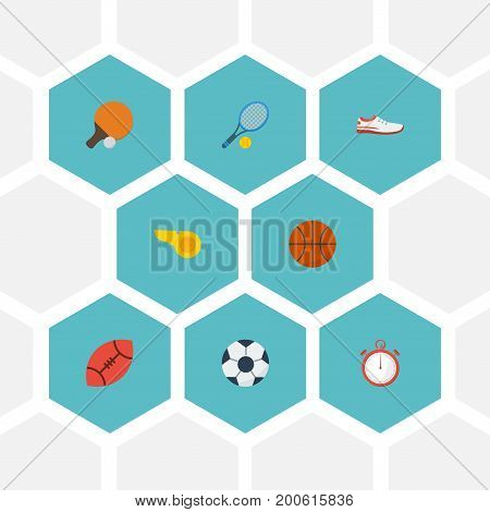 Flat Icons Second Meter, Table Tennis, Ball And Other Vector Elements
