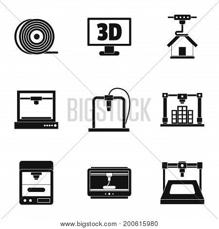 3d printer construct icon set. Simple set of 9 3d printer construct vector icons for web isolated on white background