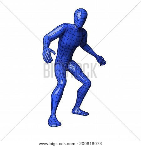 Futuristic wire mesh human figure caught and about to flee or run away. vector illustration
