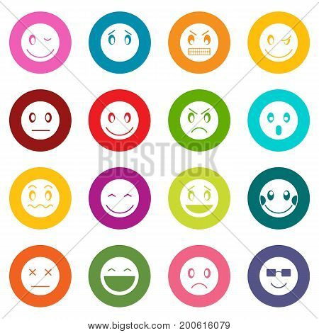 Emoticon icons many colors set isolated on white for digital marketing