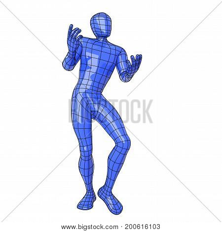 Wireframe Human Figure Declaiming And Dancing As A Medieval Minstrel