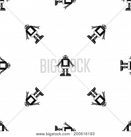 Automation machine robot pattern repeat seamless in black color for any design. Vector geometric illustration