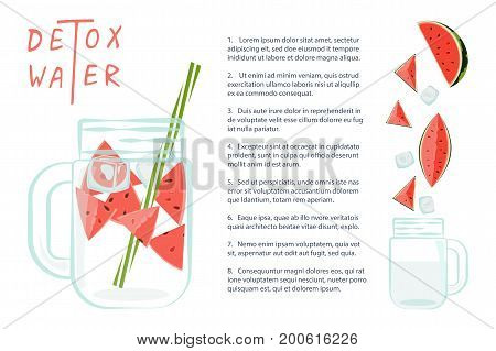 Vector illustration of Detox water with watermelon. Isolated for diet menu, cafe and restaurant menu. Fresh smoothies, fruit cocktail for healthy life.