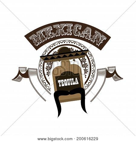 Mexican tequila retro style sign. Vector illustration