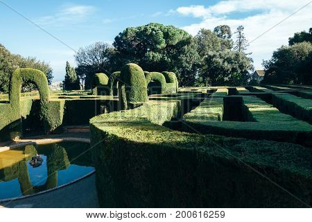 Park labyrinth located in Barcelona Spain Catalonia